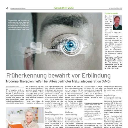 Früherkennung bewahrt vor Erblindung